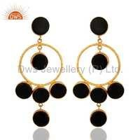Black Onyx Sterling Silver 18k Gold Vermeil Earrings