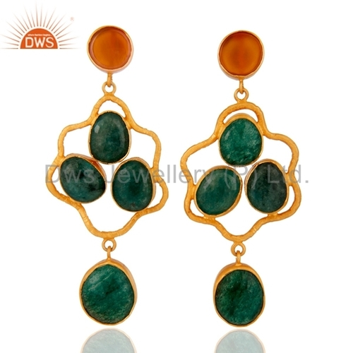 Sterling Silver Dyed Emerald 24K Gold Vermeil Earrings