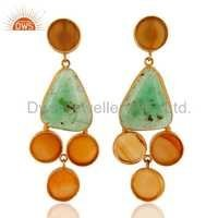 Chrysoprase & Yellow Onyx 18K Gold Vermeil Earrings