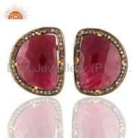 18K Gold Sterling Silver Ruby Pave Diamond Earrings