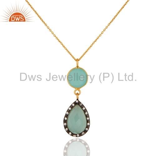 Aqua Chalcedony Gemstone Chain Pendant