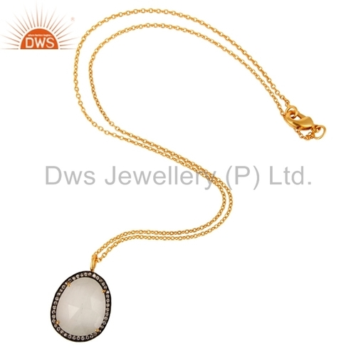 Moonstone Gold Plated Chain Pendant