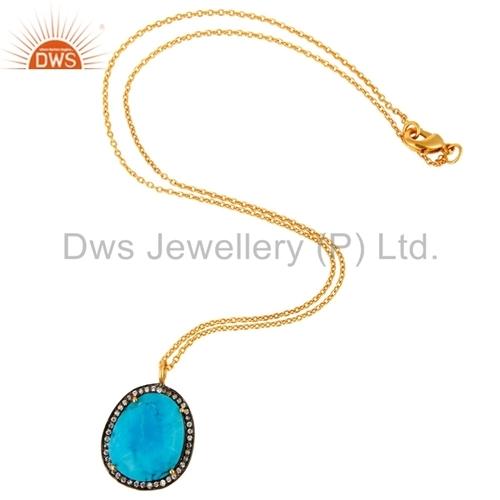Turquoise Gemstone Chain Pendant Jewelry