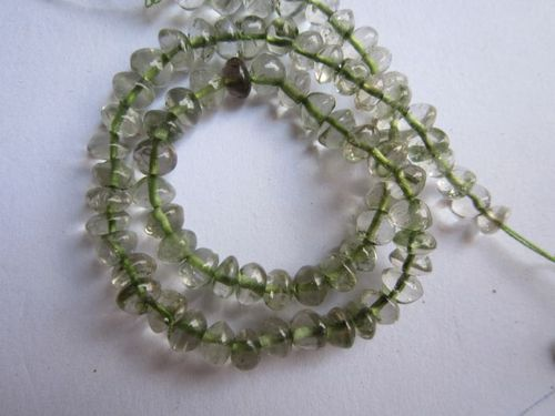 green amethyst plain rondelle beads single strand 13 inch 4-5mm