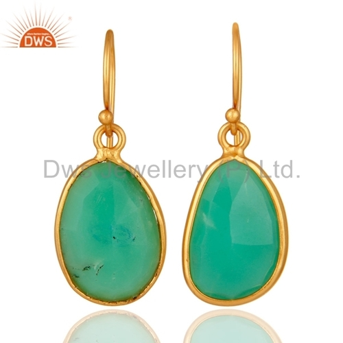 Gold Vermeil Chrysoprase Gemstone Earrings