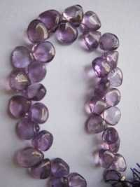 amethyst plain briolettes   beads single strand 7 inch