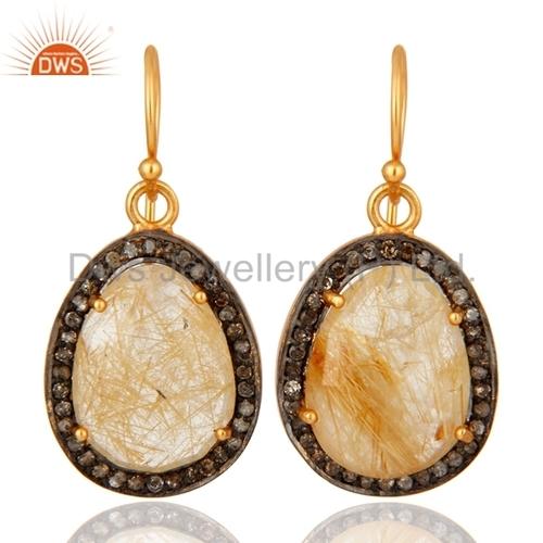 Sterling Silver Pave Diamond Rutilated Quartz Earrings