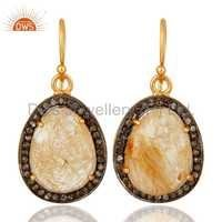 Sterling Silver Pave Diamond Rutilated Quartz Earrings