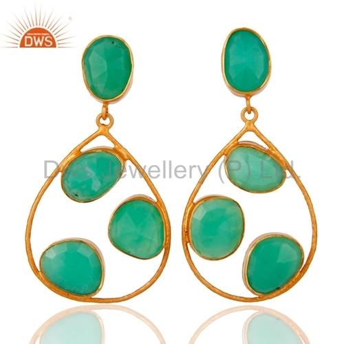 Chrysoprase Gemstone 24K Gold Plated Earrings