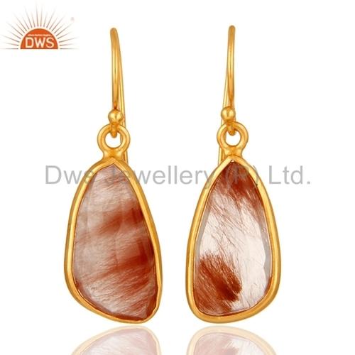 Golden Rutilated Quartz Gold Plated Earrings