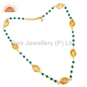 925 Silver Gold Plated Green Onyx Necklace Jewelry