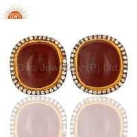 Gold Plated Red Agate Gemstone Stud Earrings