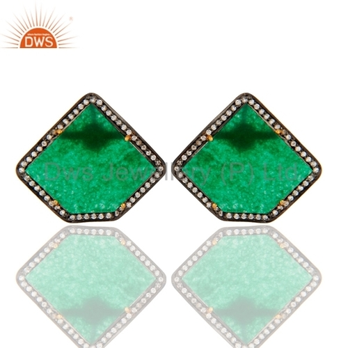 Green Aventurine 18K Gold Plated Earrings