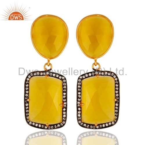 925 Silver Yellow Gemstone Earring