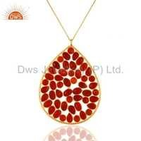 Gold Plated Sterling Silver Red Onyx Pendant