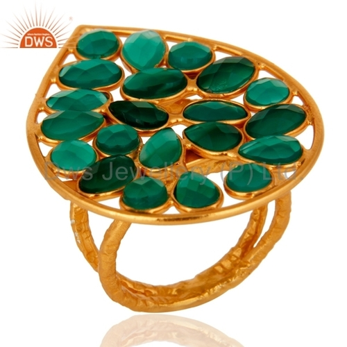 Gold Plated 925 Silver Green Onyx Ring