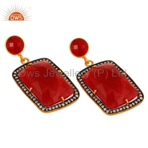 Red Aventurine 18K Gold Plated Earrings