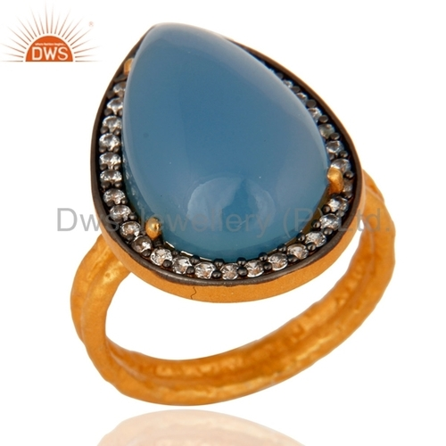 Blue Chalcedony Gold Plated Sterling Silver Ring