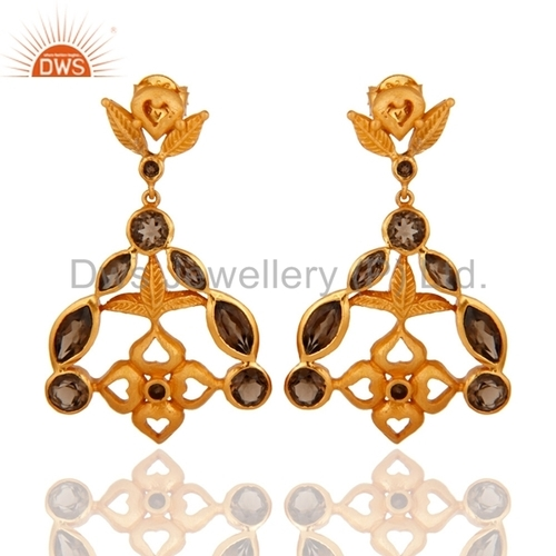 18k Gold-Plated 925 Silver Smoky Quartz Earrings