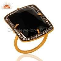 Black Onyx Gold Plated Sterling Silver Ring
