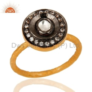 Handmade Gold Plated Silver CZ Ring Jewelry