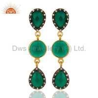 Green Onyx Sterling Silver Gold Plated Earrings