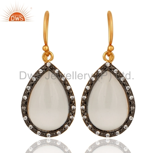 18K Gold Plated Sterling Silver White Moonstone & CZ Earrings