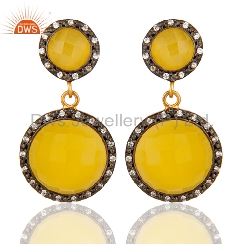Sterling Silver Gold Plated Yellow Moonstone Earrings