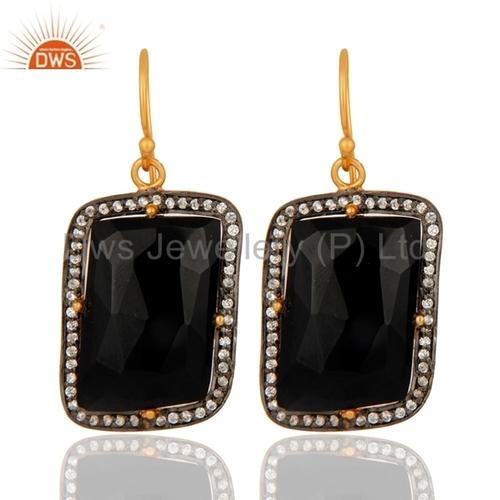Black Onyx 22K Gold Sterling Silver Earrings
