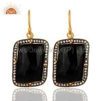 Black Onyx 22K Gold Sterling Silver Earrings