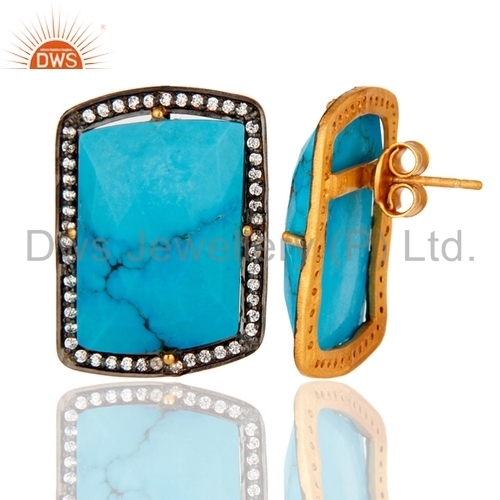 18K Gold Plated Sterling Silver Turquoise Earrings