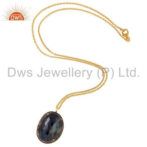Blue Sapphire Sterling Silver Pave Diamond Gold Plated Pendant