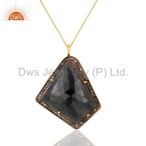 Sterling Silver Pave Diamond Blue Sapphire Pendant
