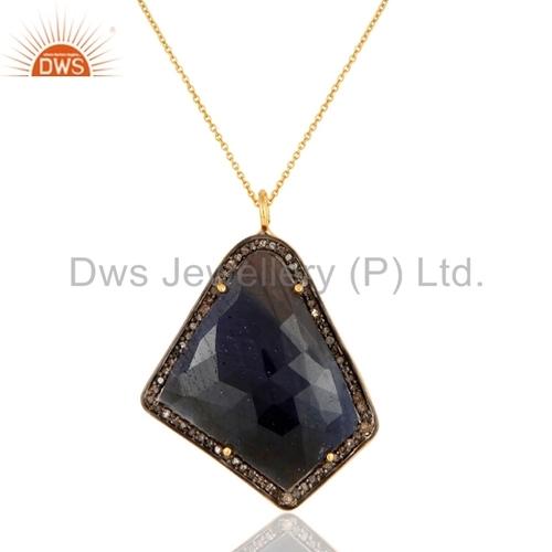 Blue Sapphire Pave Diamond 18K Gold Sterling Silver Pendant