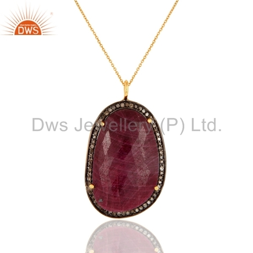 Pave Diamond Ruby Sterling Silver Pendant