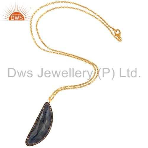 Blue Sapphire Pave Diamond Pendant Jewelry