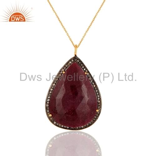 Ruby Pave Diamond 18K Gold Plated Pendant