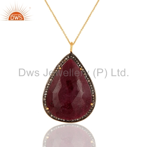 Ruby Pave Diamond 18K Gold Plated Pendant