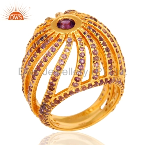 Amethyst Halo 18K Gold Plated Ring
