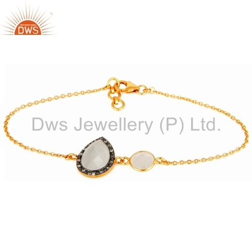 925 Silver Gold Plated Gemstone Bracelet