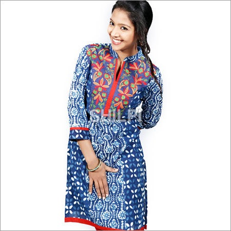 Indigo Blue cotton Kurta with Colorful Embroidered Yoke