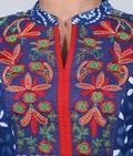 Indigo Blue cotton Kurta with Colorful Embroidered Yoke
