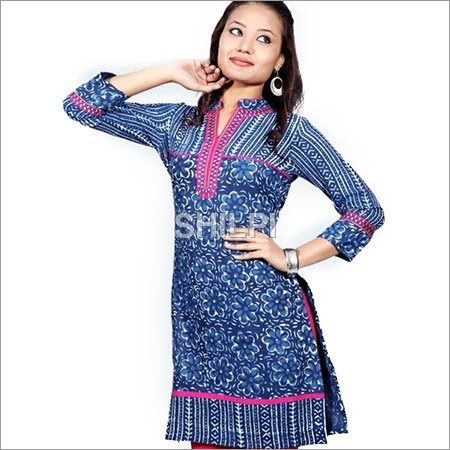 Indigo Blue Cotton Kurta with Pink Embroidered Neckline