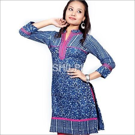 Indigo Blue Cotton Kurta with Pink Embroidered Neckline