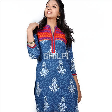 Indigo Blue Printed Cotton Kurti with Colorful Yoke