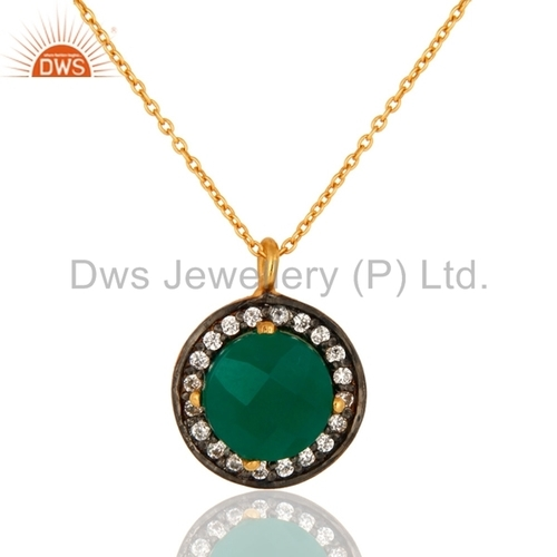 24K Gold On Sterling Silver Green Onyx Pendant