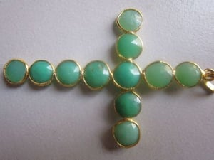 chrysoprase 8-9mm round cabochons shape cross pendant 22k gold plated