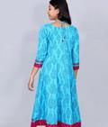 Blue Cotton Anarkali Kurta with Stylish Yoke and Border
