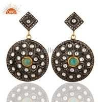 Zircon Natural Emerald Gemstone Disc Earrings Jewelry