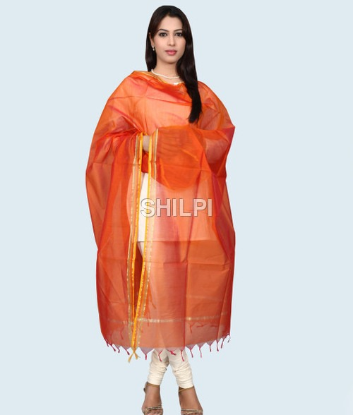 Chanderi Silk Orange Dupatta with Zari Border